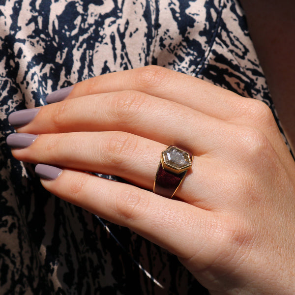 Model wearing Hand made in London Brooke Gregson 18k gold enamel raw diamond ring