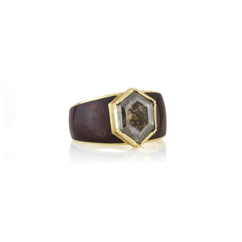 Hand made in London Brooke Gregson 18k gold enamel raw diamond ring