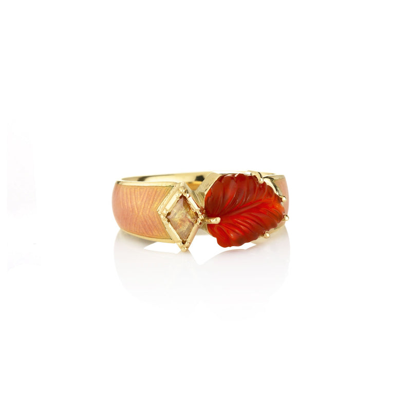 Hand made in London Brooke Gregson 18k gold Diamond Carved Fire Opal Leaf Ring