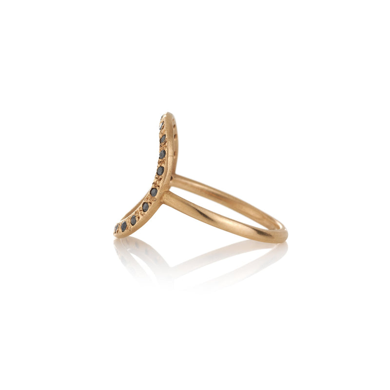 Hand made in Los Angeles Brooke Gregson 14k rose gold black diamond Circle ring side view