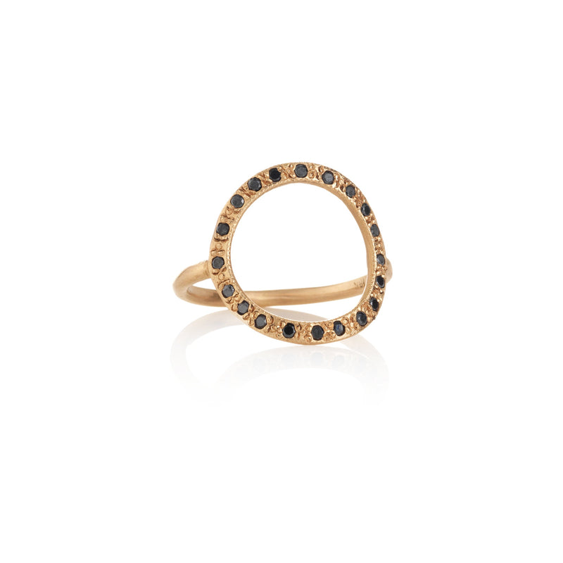 Hand made in Los Angeles Brooke Gregson 14k rose gold black diamond Circle ring