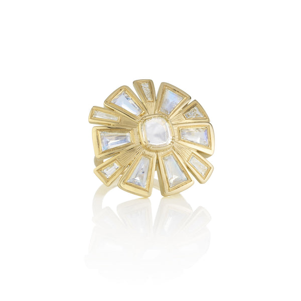 Hand made in London Brooke Gregson 18k gold diamond Moonstone Flower Ring