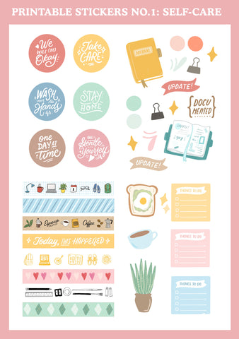 Printable Stickers No. 1: Self-care