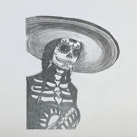 La Catrina Original Drawing by Roben Taglienti - tag+art
