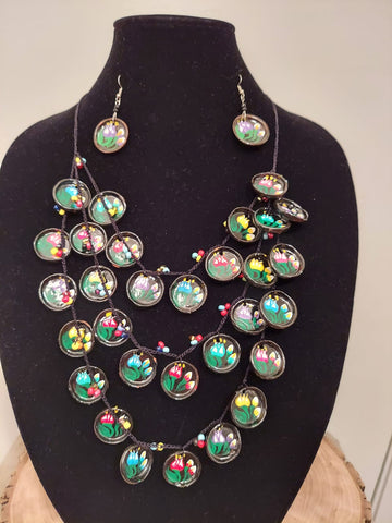 Set of Handpainted Comalito Earrings and Necklace by Amatl228