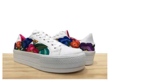 Lolkina Frida Mexican Embroidered Platform Sneakers from Kahlo's House Mexican Boutique