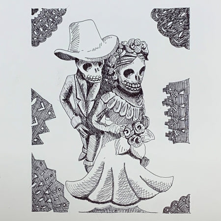 """Eternal Love"" Day of the Dead original Pen Ink Drawing art by Roben B. Taglienti $137"