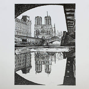 Notre Dame de Paris Cathedral, Paris from the Seine Original Ink Drawing by Roben B. Taglienti