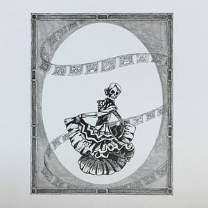 Day of the Dead Jarabe Tapatio Dancing Catrina Original Drawing  $137