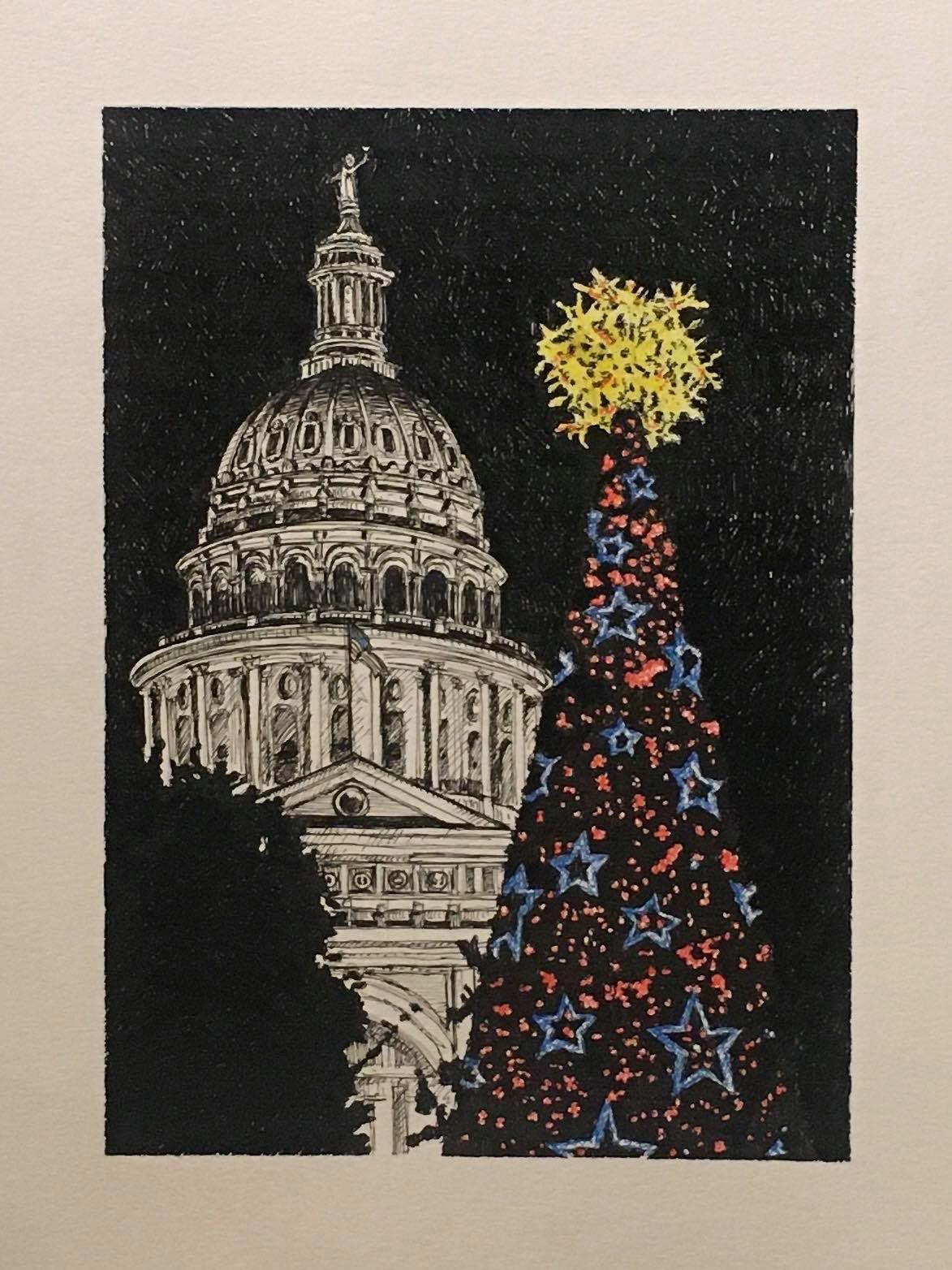 Texas Capitol Christmas Tree Drawing by Roben Taglienti - tag+art