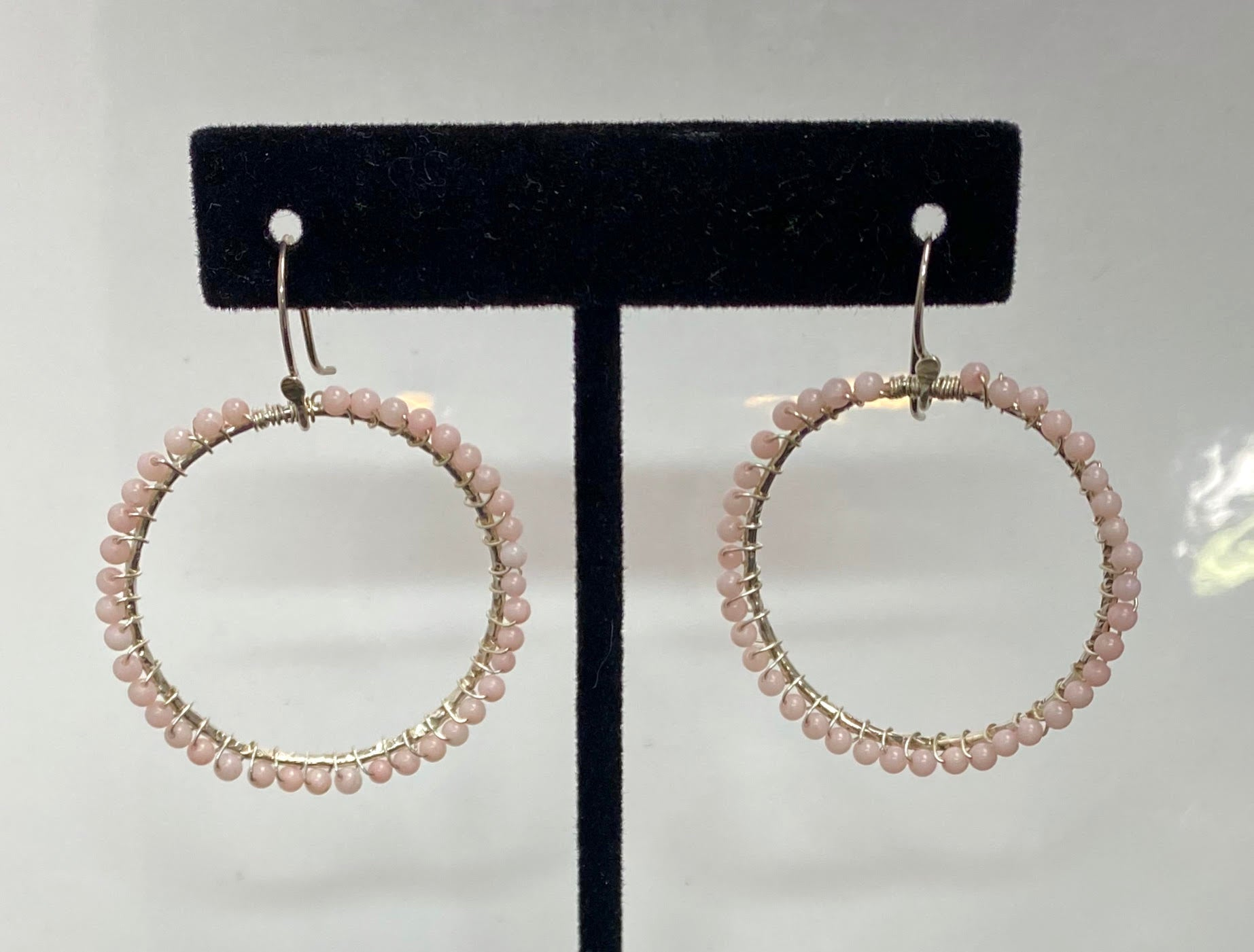 Pink Coral Hoops Earrings One of a kind $39