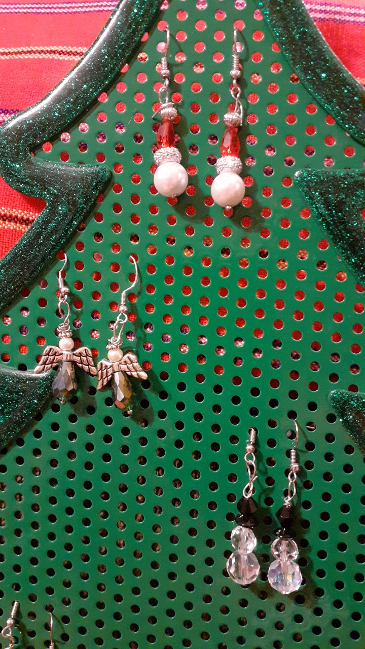 Handcrafted Christmas Earrings by Dazzle Me Bag Design