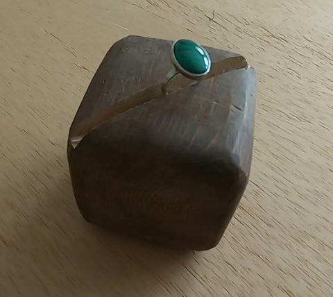 Ladies' Sterling Silver and  Malachite Ring by Athena Silversmith