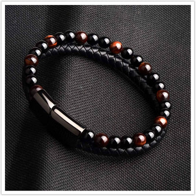 Natural Stone Genuine Leather Bracelet Black Stainless Steel Magnetic Clasp