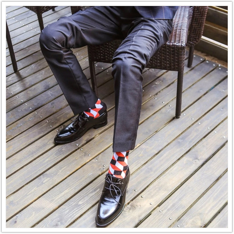 Fashion Design Plaid Colorful Socks Man