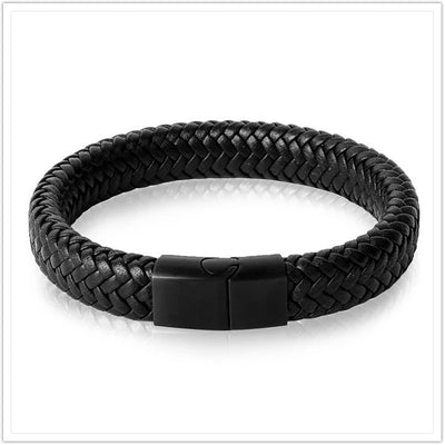 Leather Bracelet Stainless Steel Magnetic Clasp