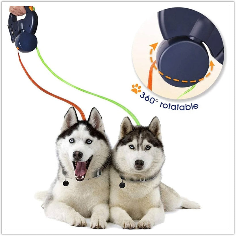 DOG LEASH FOR TWO WITH FLASHLIGHT AND POOP BAG