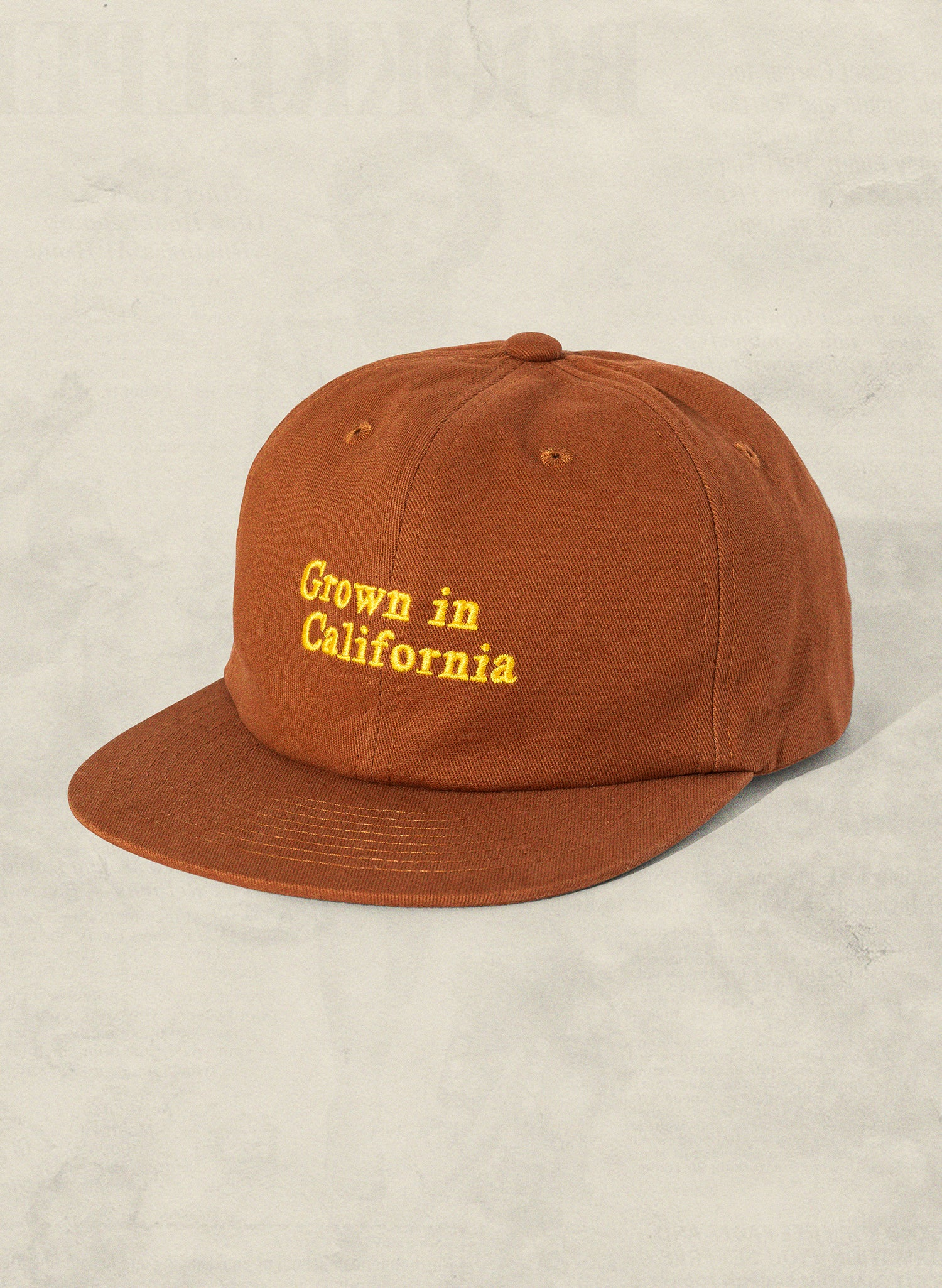 Grown in California Rust Field Trip Unstructured 6 Panel Workwear Hat Lifestyle Retro Vintage 70s