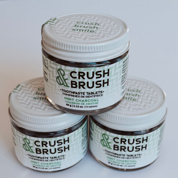 Nelson Naturals Crush & Brush Toothpaste Tablets - Mint Charcoal