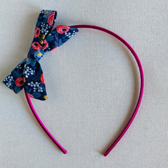 Blue Floral Bow Hair Band