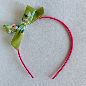 Green Floral Bow Hair Band