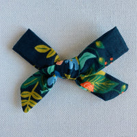 Navy Florals Bow Hair Clip
