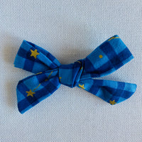 Blue Plaid Bow Hair Clip