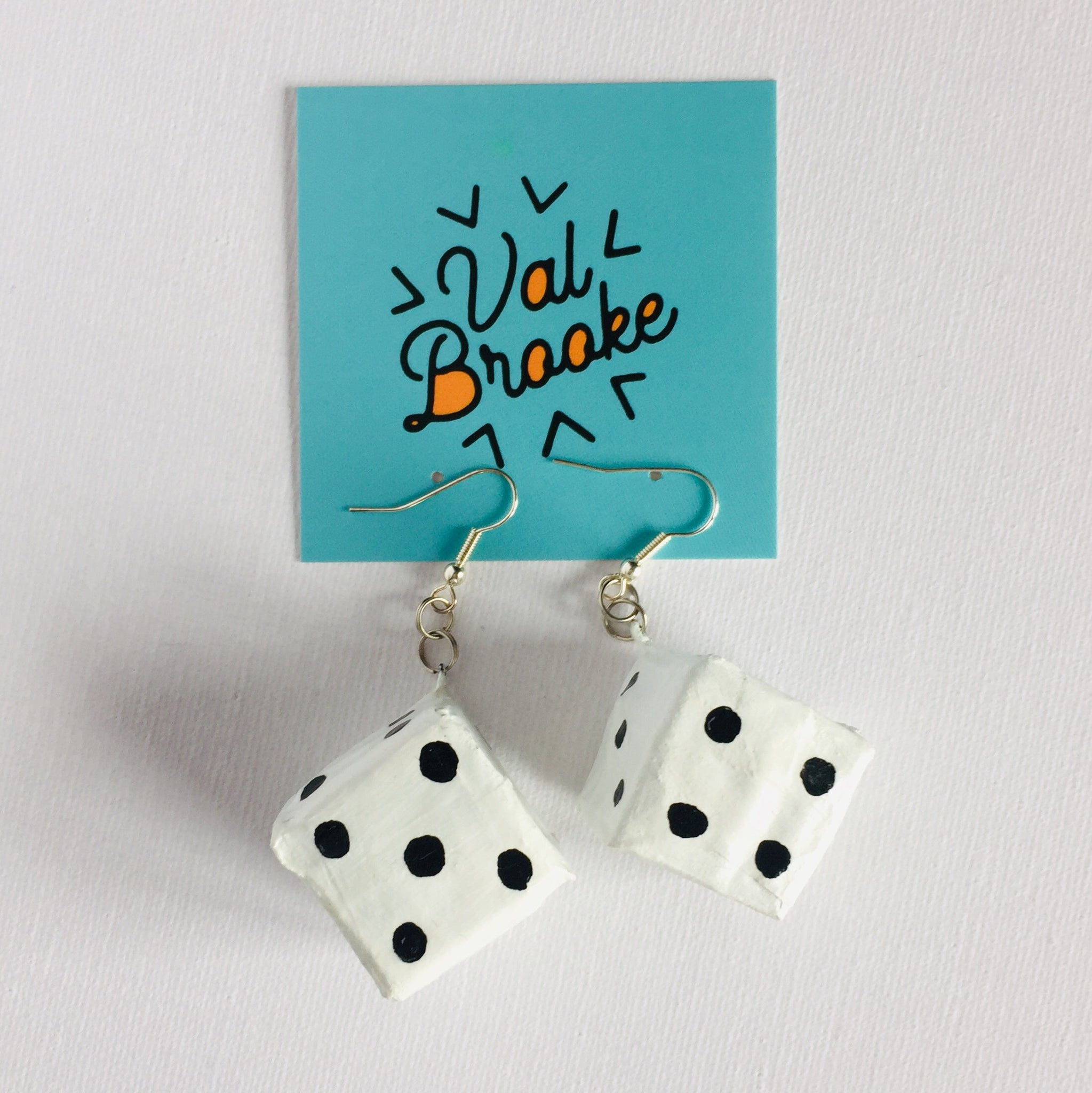 Dice Earring: White