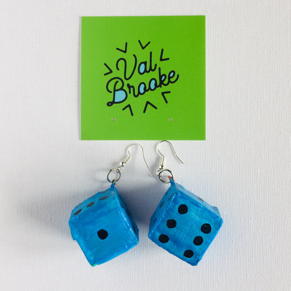 Dice Earring: Blue