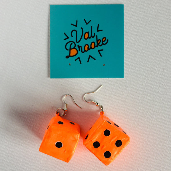 Dice Earring: Orange