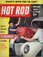 February 1956 Hot Rod Magazine cover image