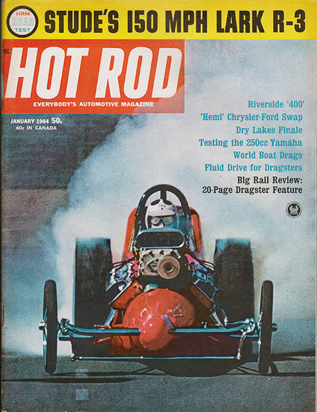 January 1964 Hot Rod Magazine Tommy Ivo Burnout dragster photo cover