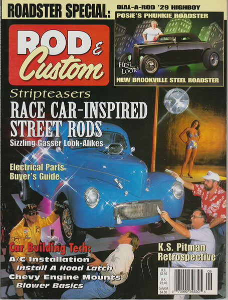 September 1997 Rod & Custom Magazine Cover featuring Boyd Coddington, Chip Foose, Gray Baskerville, and George Barris