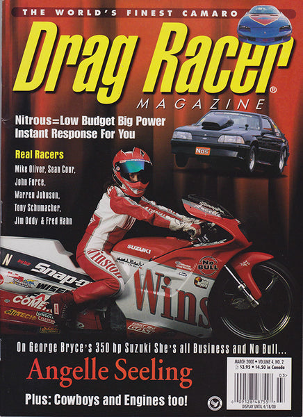 March 2000 Drag Racer Magazine Angelle Seeling Pro Stock Motorcycle