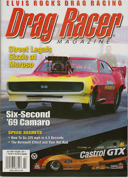 July 1998 Drag Racer Magazine Cover Camaro and John Force Funny Car