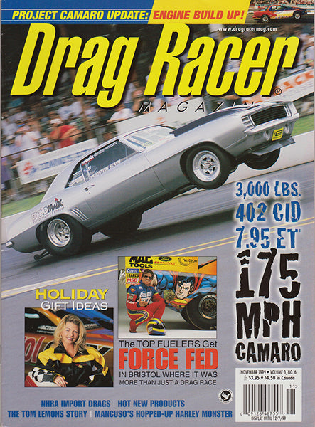November 1999 Drag Racer Magazine Cover Camaro Wheelstand