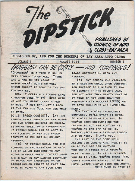 The Dipstick August 1954 Volume 1 Number 7 - Nitroactive.net