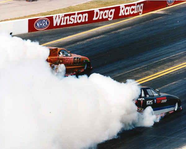 John Force and All Hoffman Burnout 8x10 Color Photo