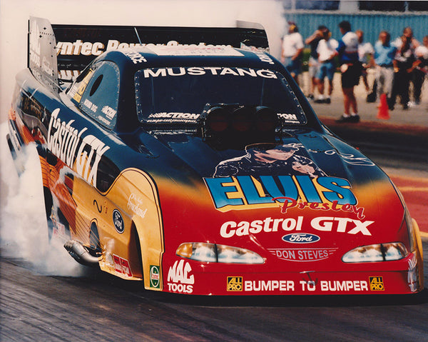 John Force 1998 Elvis Presley Castrol GTX Mustang Funny Car 8x10 Photo