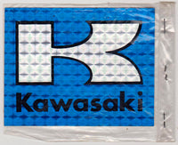 NOS Kawasaki Motorcyvle Blue Rainbow-Style Sticker Late 1970s or Early 1980s
