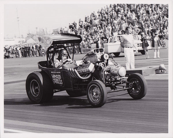Wild Willie Borsche Winged Express Fuel Altered 8x10 Black and White Photo