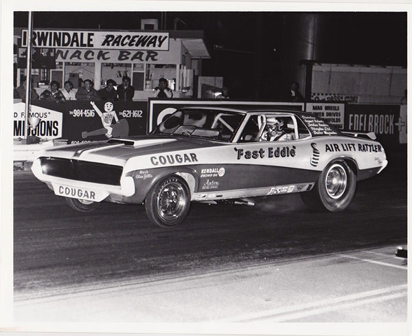 Fast Eddie Schartman Cougar Funny Car 8x10 Black and White Photo