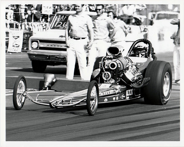 Smothers Brother's Beach Boys Top Fuel Dragster 8x10 Black and White Photo