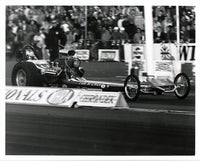"Tom ""Mongoose"" McEwen Dragster 8x10 Black and White Photo"