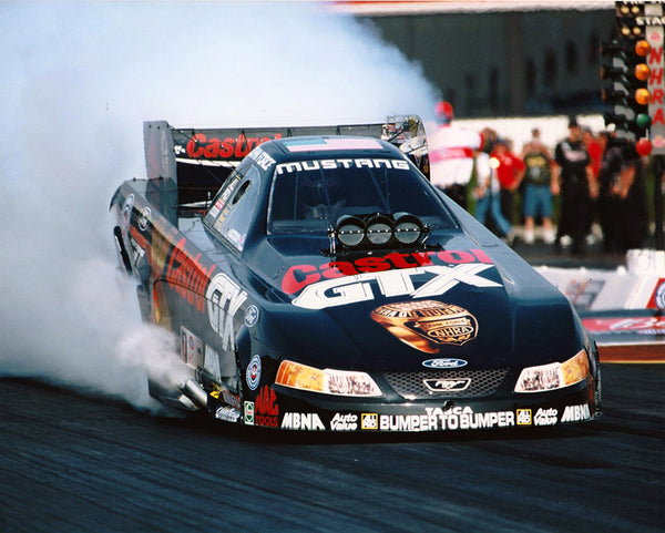 John Force 10X Champ Mustang Funny Car Burnout 8x10 Color Photo