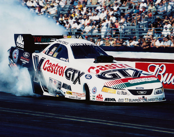 John Force 2001 Mustang Funny Car Burnout 8x10 Color Photo