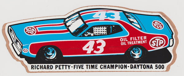 NOS Original STP Richard Petty 1974 Five-Time Champion Daytona 500 Sticker Dodge Charger