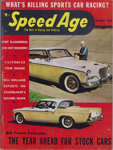 March 1956 Speed Age Magazine Cover Studebaker Golden Hawk