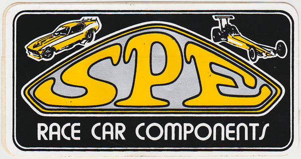 Original Vintage SPE Race Car Components Sticker 1970s  Front
