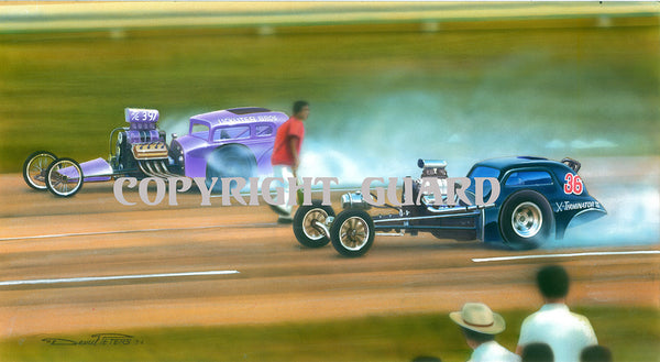 All Couped Up David Peters Drag Racing Art